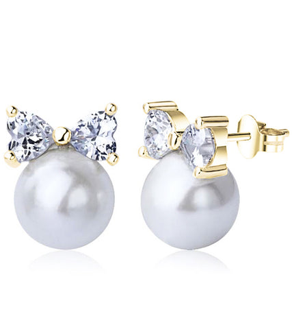 24K GoldPlated Austrian Crystal Daily Wear Bow Cut White Pearl Stud Earring