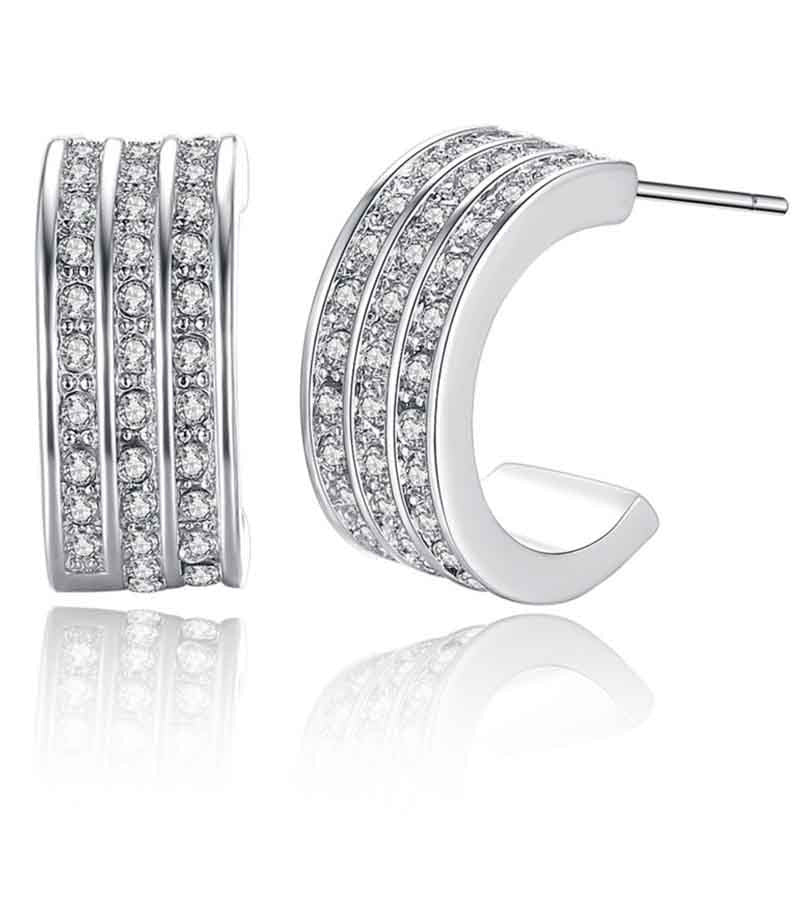 Platinum Plated Austrian Crystal Earrings For Women