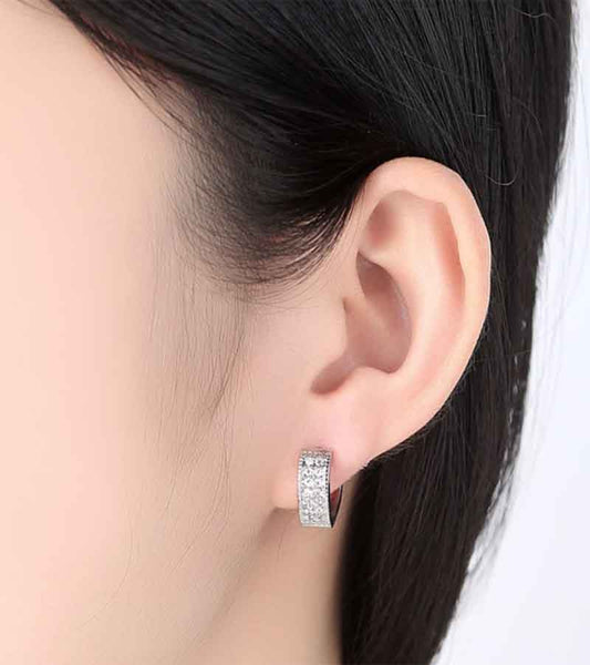 Platinum Plated Austrian Crystal Clip-On Earrings