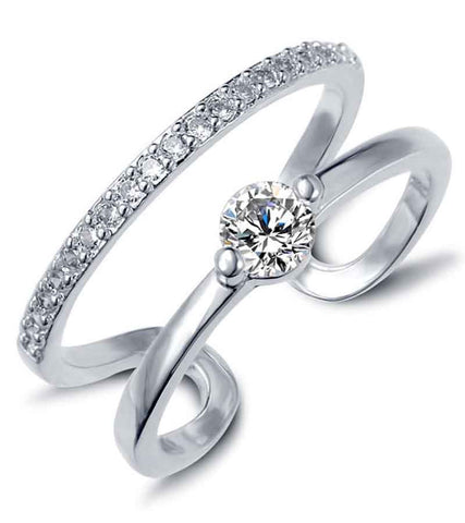 Platinum Plated Austrian Crystal Elegant Adjustable Ring For Women