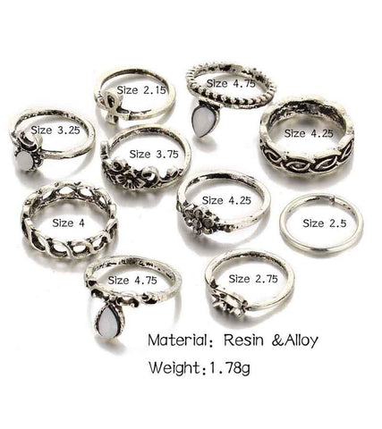 Antique Oxidised Silver Colour Bohemian Midi Rings For Girls
