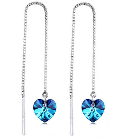 Platinum Plated Austrian Crystal Drop Earrings For Women
