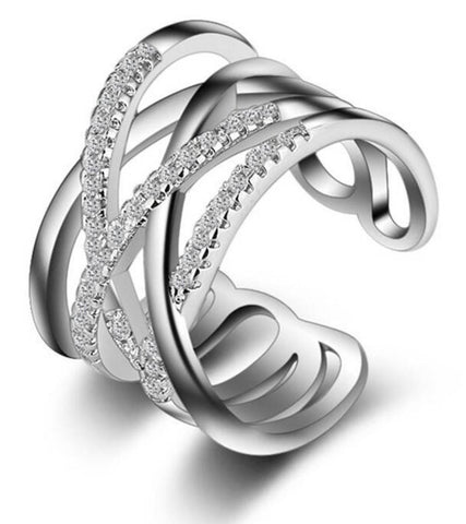 Karatcart Platinum Plated Austrian Crystal Elegant Adjustable Ring For Women