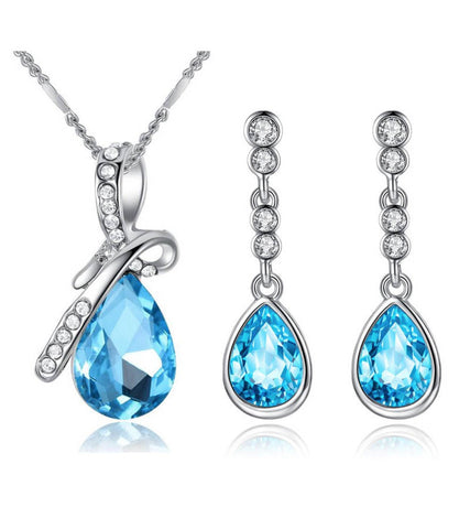 Karatcart  Trendy Platinum Plated Blue Elegant Austrian Crystal Pendant Set For Women