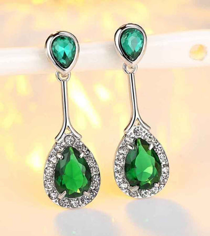 Platinum Plated European Style Green Austrian Crystal Drop Earrings For Women