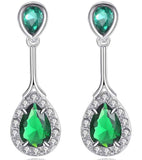 Platinum Plated European Style Green Austrian Crystal Drop Earrings
