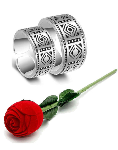 Valentine Gift by Karatcart Platinum Plated Elegant Classic Crystal Couple Ring for Women