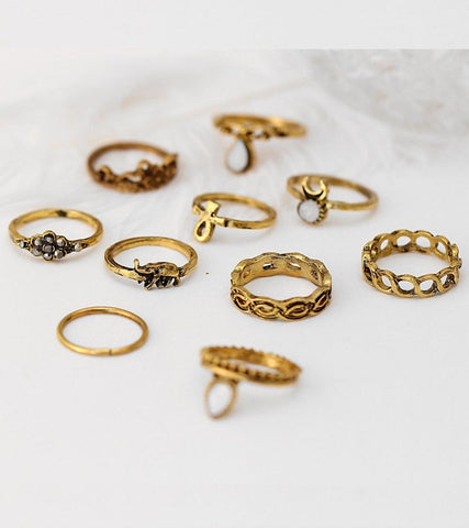 Antique Oxidised GoldPlated Bohemian Midi Rings For Women