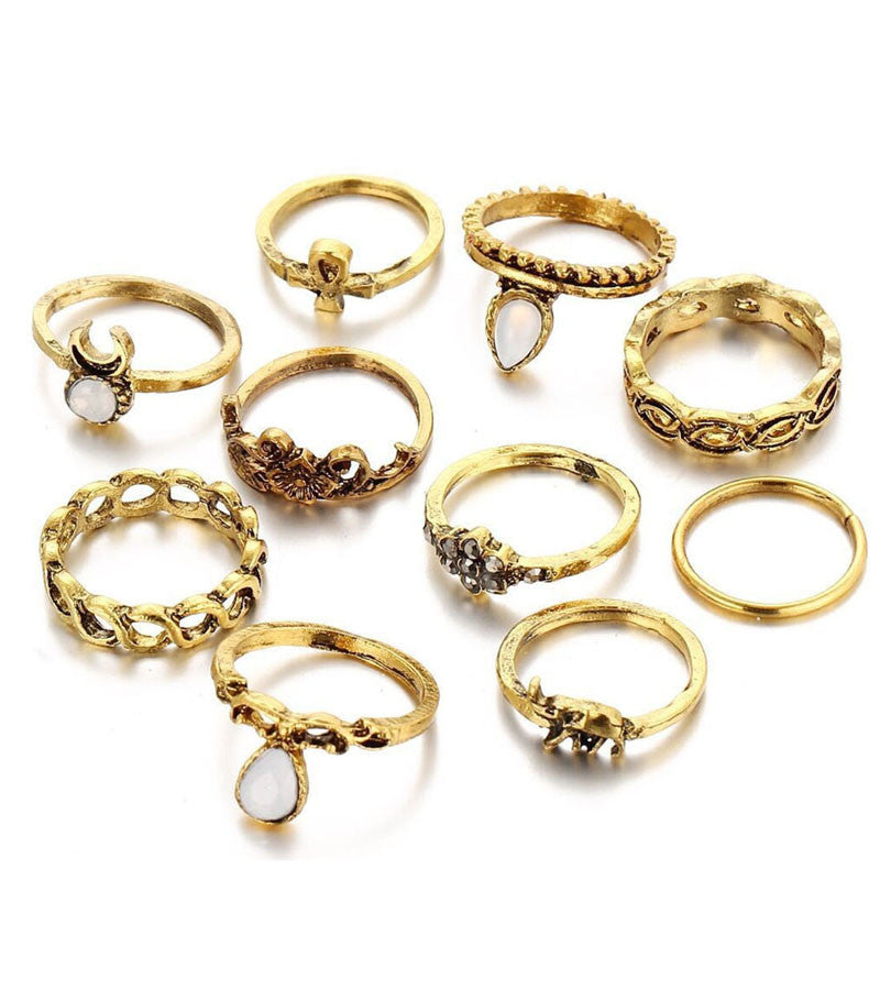 Antique Oxidised GoldPlated Bohemian Midi Rings