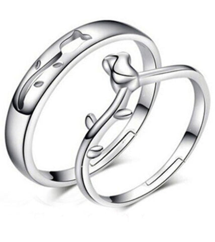 Platinum Plated Elegant Rose Bud Couple Adjustable Band Ring