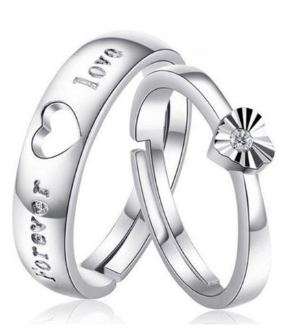 Platinum Plated Elegant Couple Adjustable Promise Ring