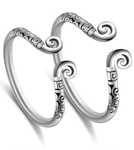Platinum Plated Elegant Tribal Couple Adjustable Ring