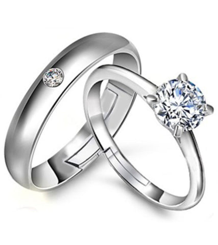Platinum Plated Austrian Crystal Elegant Couple Adjustable Band Ring