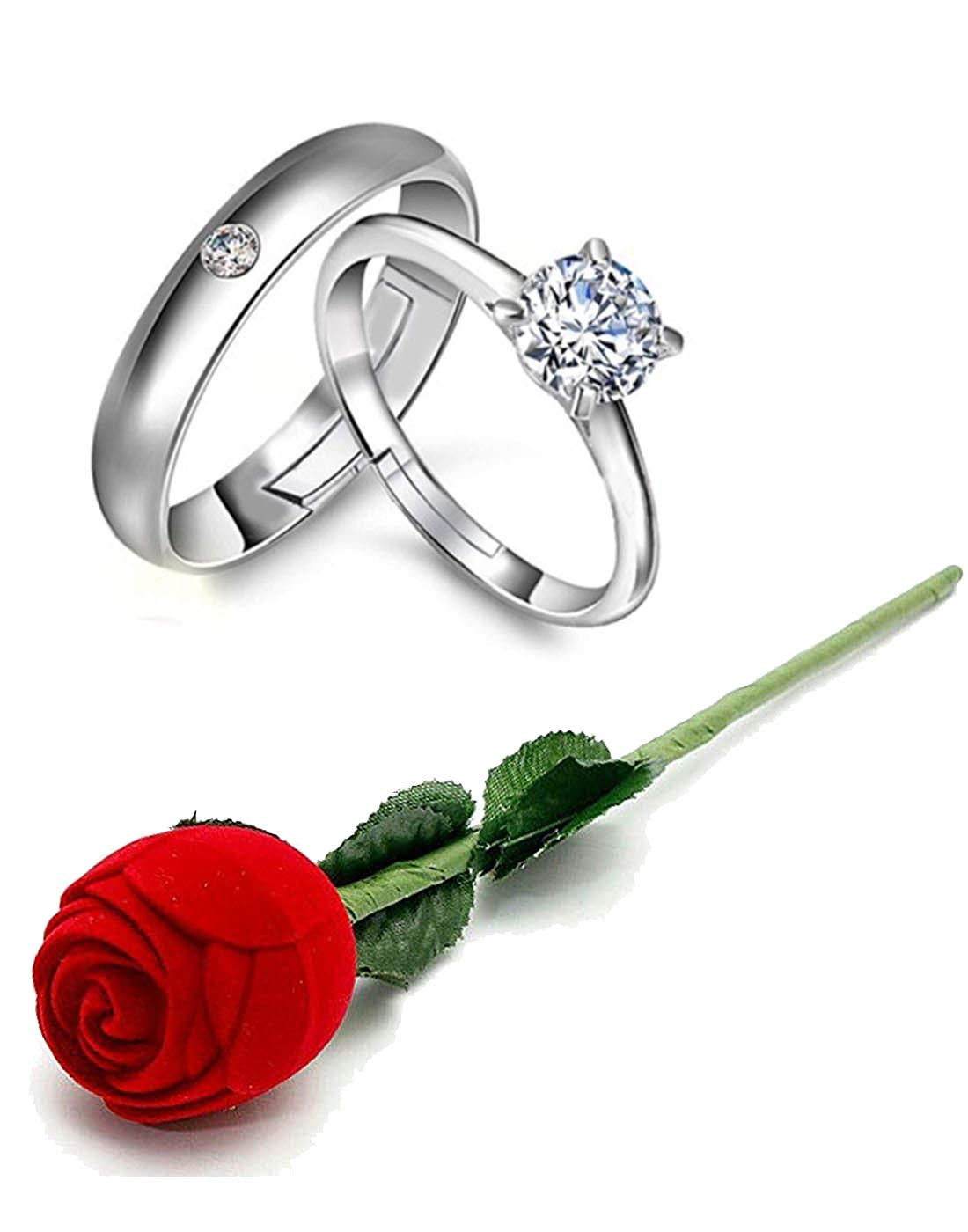 Valentine Gift by Karatcart Platinum Plated Elegant Classic Crystal https://karatcart-com.myshopify.com/admin/products/newCouple Ring for Women