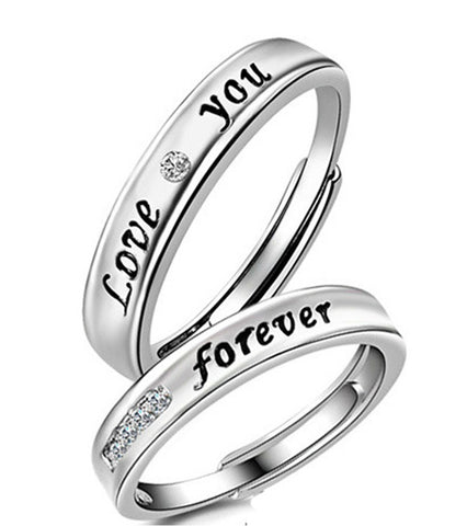 Platinum Plated Elegant Love Forever Couple Adjustable Band Ring