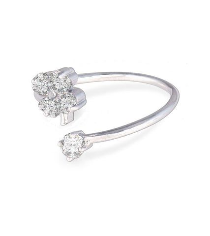 Platinum Plated Flower Cut Elegant Austrian Crystal Adjustable Ring For Women