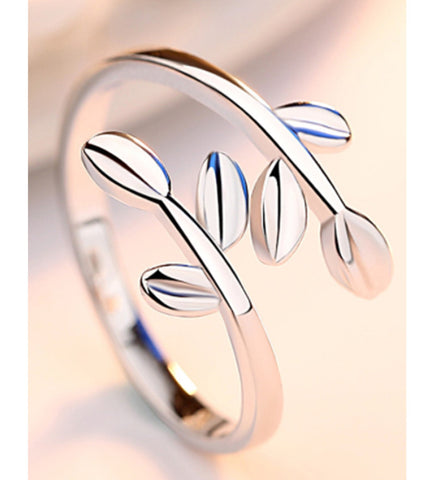 Platinum Plated Elegant Adjustable Parallel Leaves Ring For Women