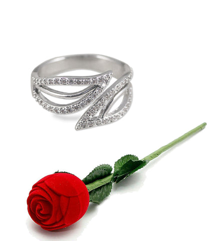 Valentine Gift By Karatcart Platinum Plated Elegant Austrian Crystal Adjustable Ring For Women