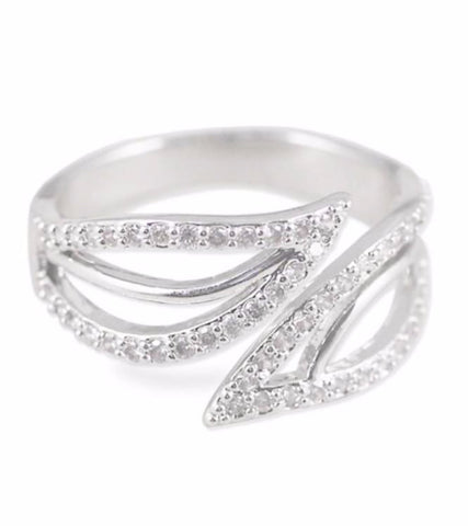 Platinum Plated Elegant Austrian Crystal Adjustable Ring For Women