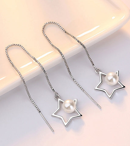 Platinum Plated White Pearl Star Shaped Drop Earrings