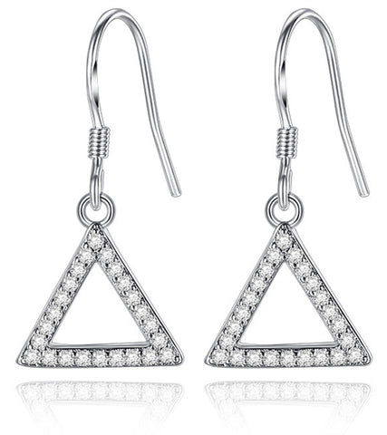 Platinum Plated Austrian Crystal Triangle Drop Earrings For Women