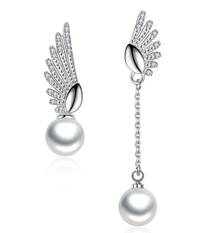 Platinum Plated Austrian Crystal White Pearl Drop Earrings For Women