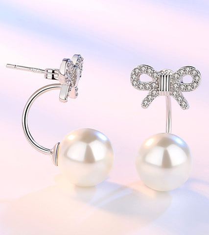 Platinum Plated Austrian Crystal White Pearl Bow Shaped Drop Earrings For Women