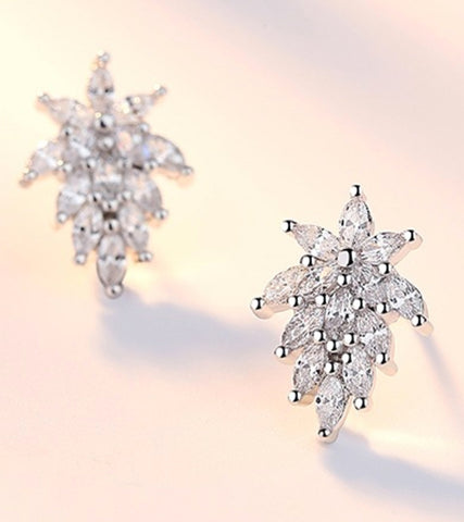 Platinum Plated Austrian Crystal Dangle Earrings For Women