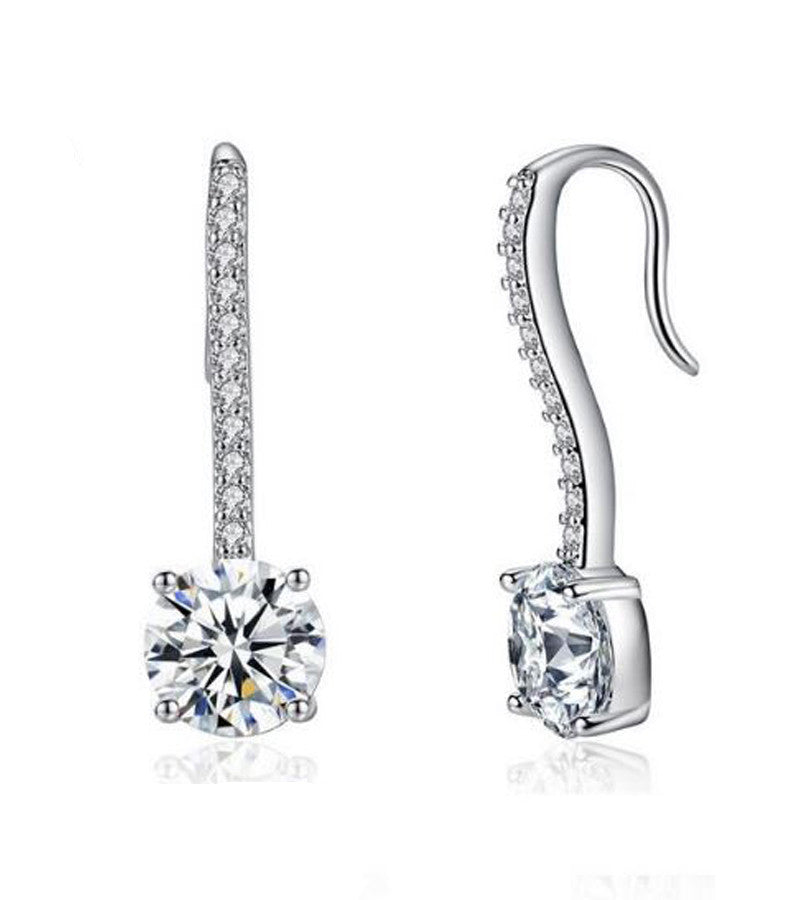 Platinum Plated Unique Fish Hook Earring Set For Women