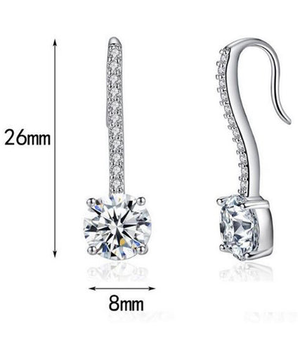Platinum Plated Unique Fish Hook Earring Set