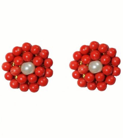 Karatcart Orange Turquoise And Pearl Stud Earring