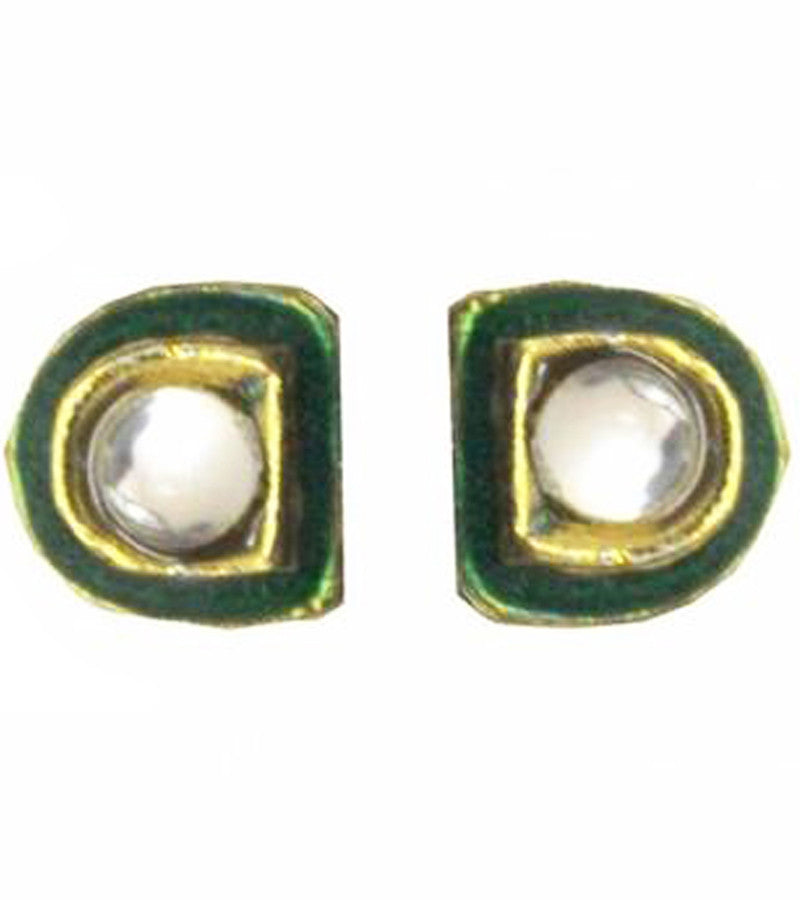 Meenakari Kundan D Stud Earrings
