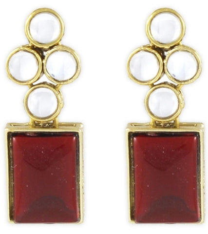 Modern Red Kundan Earrings