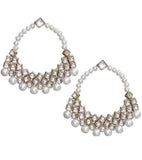 Kundan and Pearl Hoops