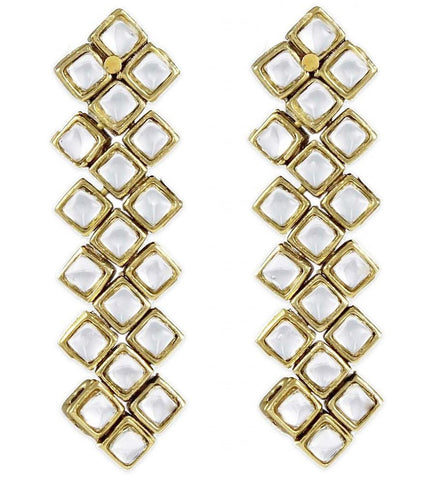 Karatcart Square Kundan Long Earrings
