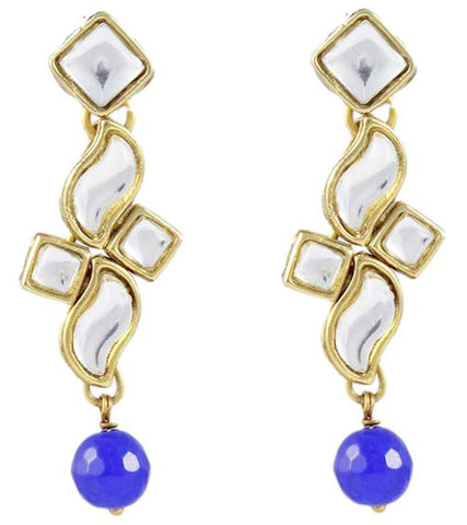 Karatcart Indigo Long Kundan Earrings