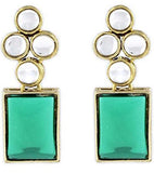 Modern Green Kundan Earrings
