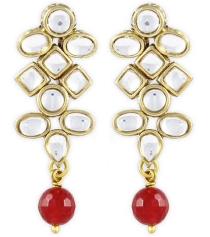 Karatcart Red Kundan Dangle Earrings