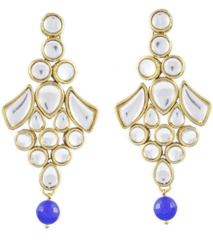 Karatcart Long Blue Kundan Dangle Earrings