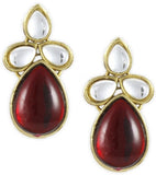 Karatcart Ethnic Kundan 14K Yellow Gold Plated Alloy Stud Earring