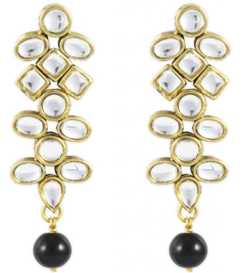 Karatcart Ethnic Kundan 14K Yellow Gold Plated Alloy Drop Earring