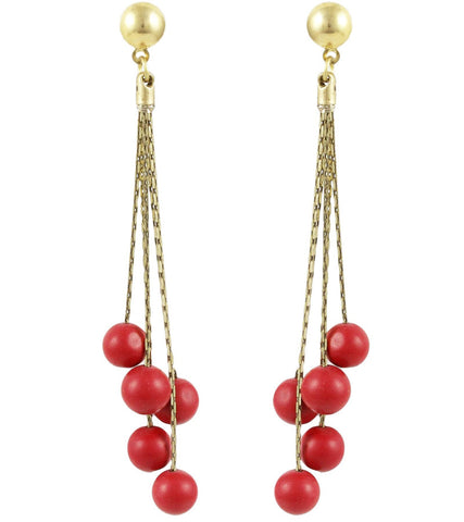 Karatcart Long Chain Red Fashion Earrings