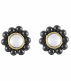 Karatcart Green Beads Stud Earrings  (Black)