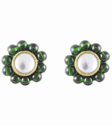 Karatcart Green Beads Stud Earrings  (Green)