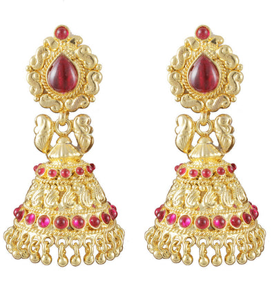 22K Goldplated Pink Stone Jhumki  Earrings by Karatcart