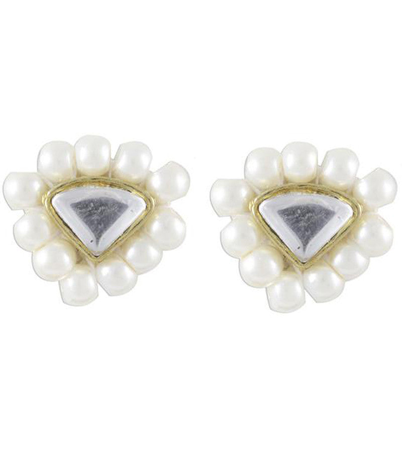 Karatcart Triangle White Beads Stud Earrings For Women