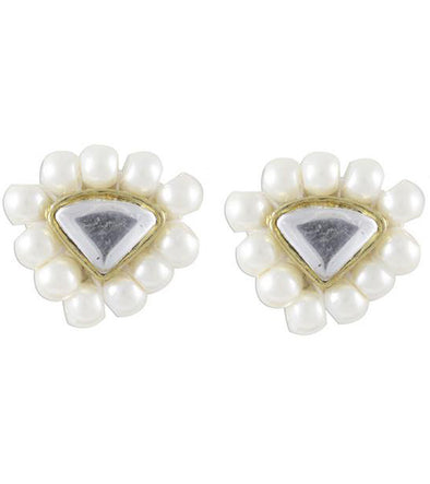 Karatcart Triangle White Beads Stud Earrings