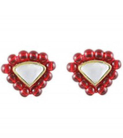 Karatcart Triangle Red Beads Stud Earrings