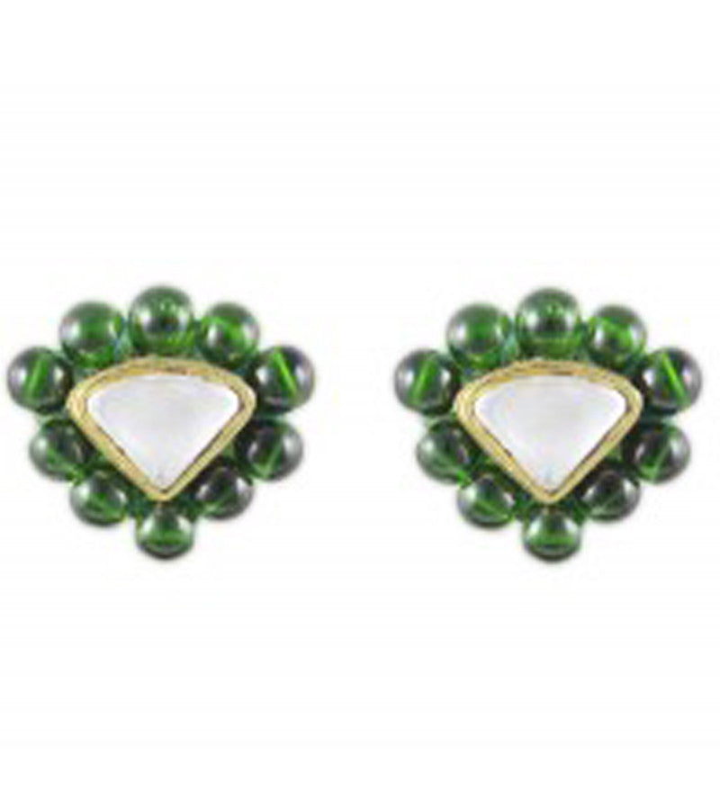 Karatcart Triangle Green Beads Stud Earrings
