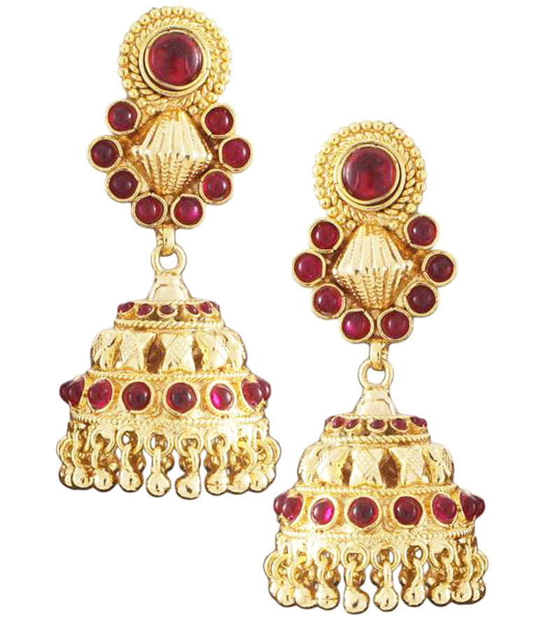 Karatcart 22K Goldplated Red Stone Jhumki Earings Set  by Karatcart